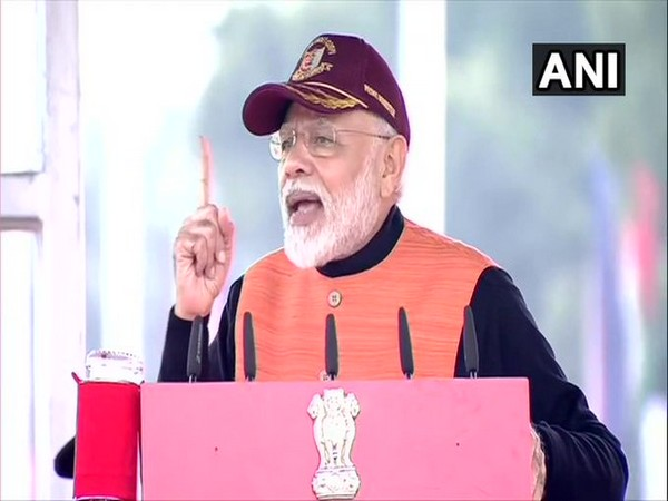 Prime Minister Narendra Modi speaking at National Cadet Corps rally in Delhi on Tuesday. Photo/ANI