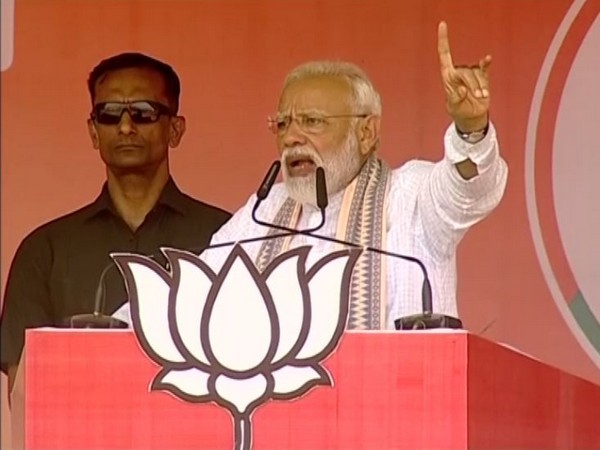 Prime Minister Narendra Modi addressing a public rally in Sagar on Sunday.
