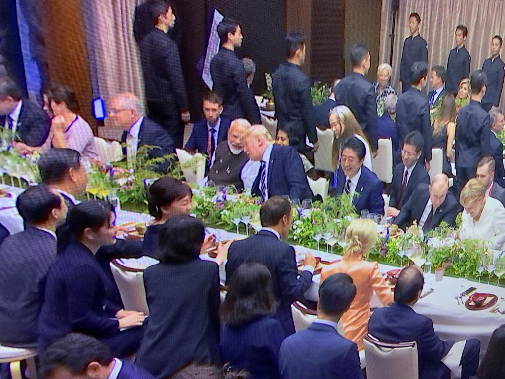 Prime Minister Narendra Modi engaged in a conversation with US President Donald Trump at informal dinner during G20 summit on Friday.