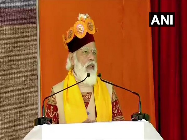 PM Narendra Modi speaking at the public rally in Lahaul on Saturday. Photo/ANI