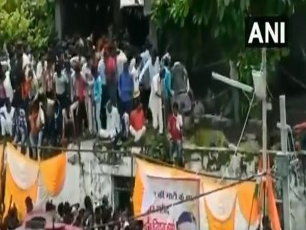 Roof collapsed in Rajgarh, MP with people witnessing final rites of a soldier on Wednesday. (Photo/ANI)