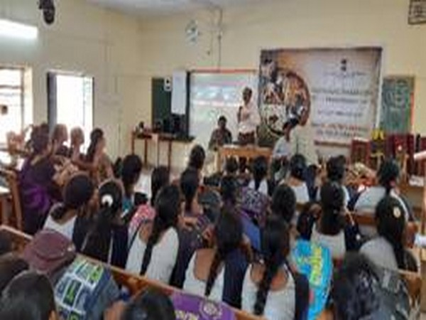 A view of the National Level Awareness Programme at SKBR College held by Regional Coir Board office, Amalapuram, East Godavari district, Andhra Pradesh. Photo/ANI