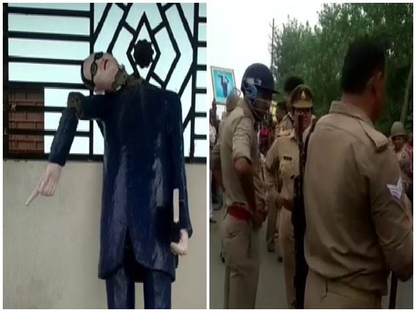Ambedkar statue was decapitated in Ghunna village by miscreants overnmight (L), police are on the spot to control the situation (R). Photo/ANI