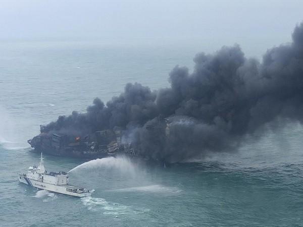 Fire stricken Singapore registered MV X-Press Pearl cargo ship (File Photo)
