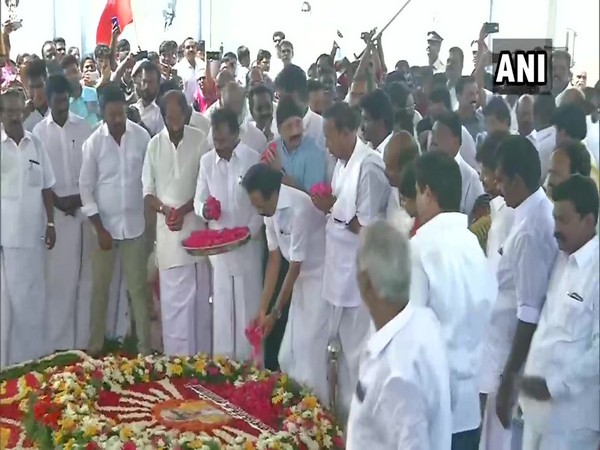 DMK leaders pay tribute to M Karunanidhi in Chennai on Saturday