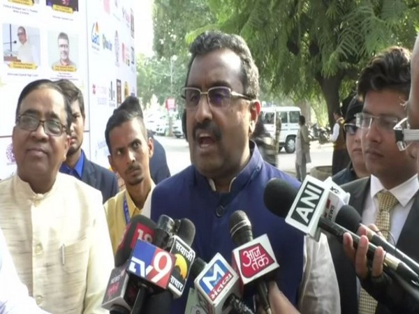 BJP leader Ram Madhav speaking to reporters in Vadodara on Saturday. Photo/ANI
