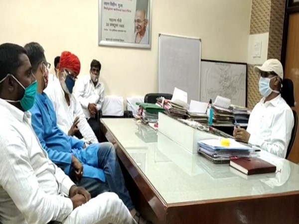 Gurjar Aarakshan Sangharsh Samiti met District Collector of Sawai Madhopur, Rajasthan on Friday. (Photo/ANI)