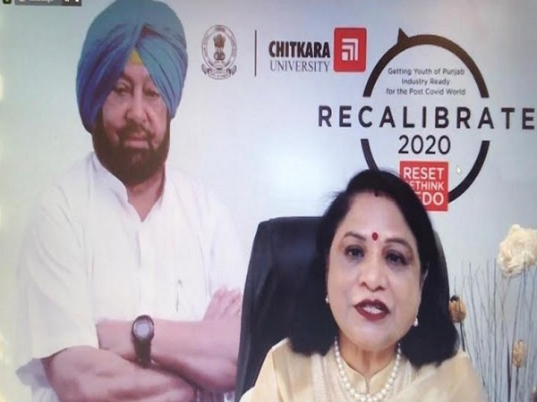 """Dr Madhu Chitkara addressing the industry professionals in Round Table Discussion """"RECALIBRATE 2020"""""""