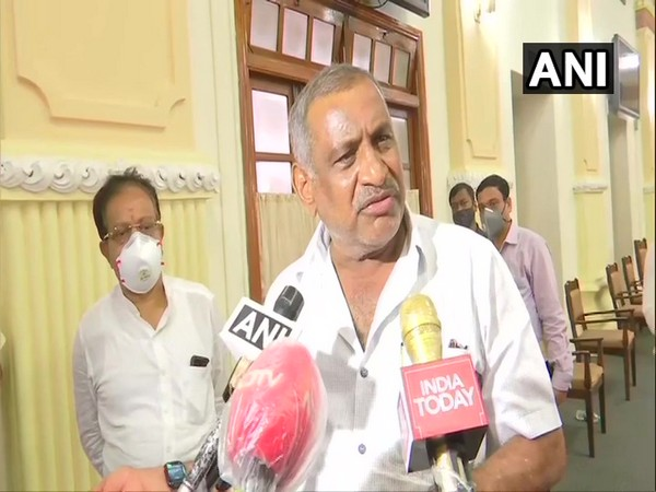 Karnataka Minister of Law, Parliamentary Affairs and Legislation JC Madhuswamy speaking to the reporters of Thursday. (Photo/ANI)
