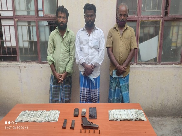 Arrested people with seized ganja in Madurai. (Photo/ANI)