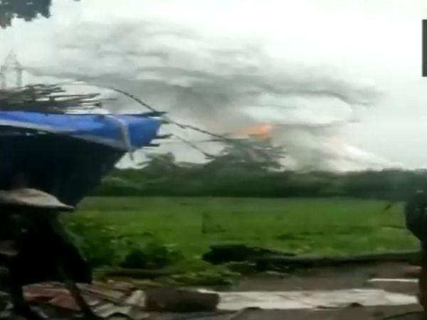 Visual from the fire at firecracker manufacturing unit in Dahanu. (Photo/ANI)