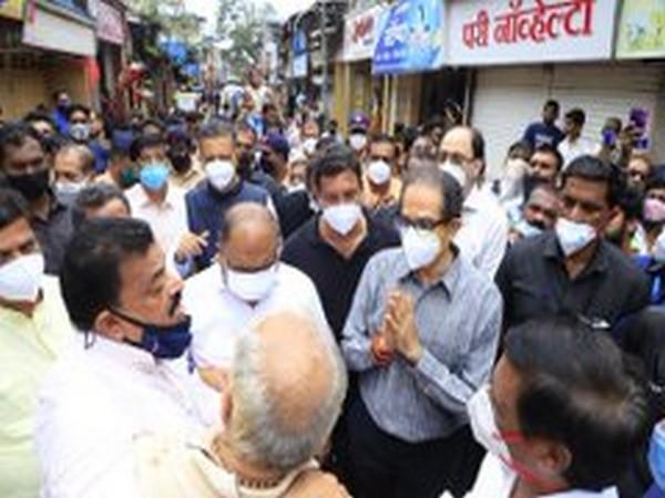 Maharashtra Chief Minister Uddhav Thackeray at Chiplun on Sunday. (Photo/ANI)