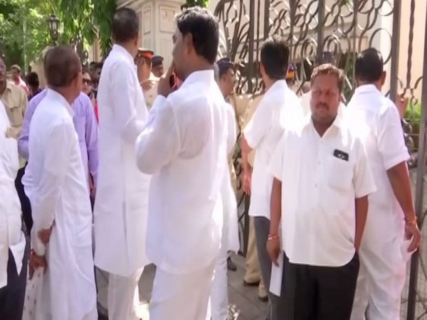 MLAs seen outside Sahyadri guest house on Wednesday. Photo/ANI