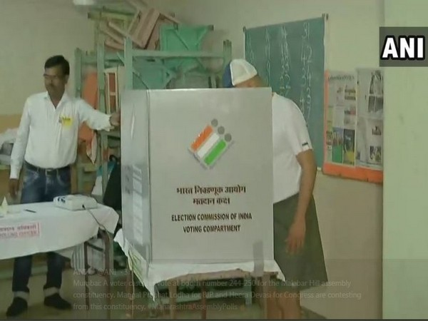 A voter casting his vote in south Mumbai on Monday