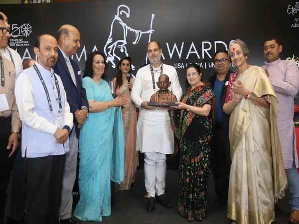 Amit Sachdeva, Founder, Mahatma Award with Rajashree Birla, Chairperson, Aditya birla Group with Award Board Members at 150th Birth Anniversary of Mahatma Gandhi in Delhi, India
