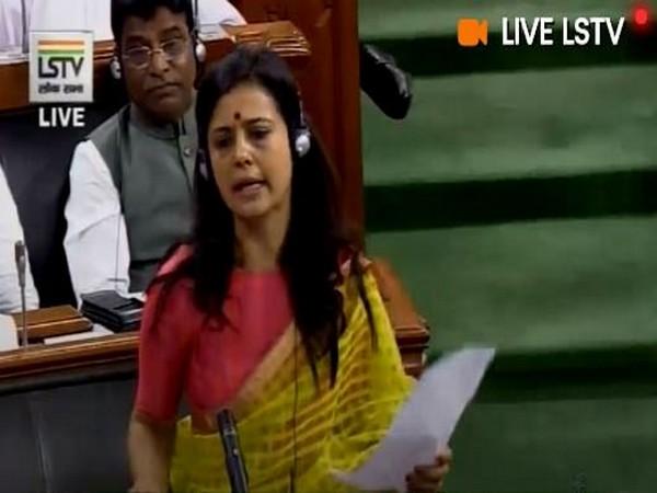 TMC MP Mahua Moitra during Parliament session in New Delhi on Thursday (photo credits-Lok Sabha TV)