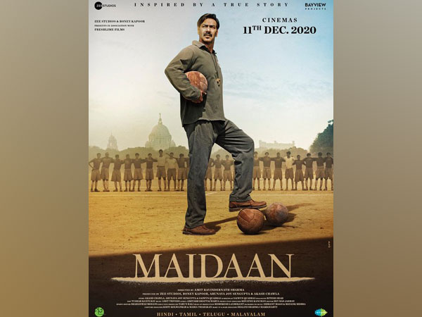 A poster of the upcoming sports -biographical movie 'Maidaan' (Image courtesy: Instagram)