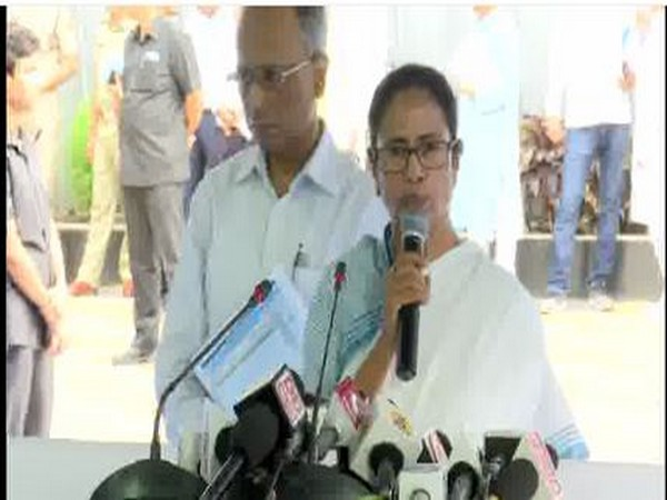 West Bengal CM Mamata Banerjee speaking to reporters in Kolkata on Monday. (ANI/Photo)