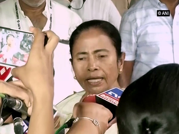 West Bengal chief minister Mamata Banerjee after casting her vote at a polling booth in Kolkata