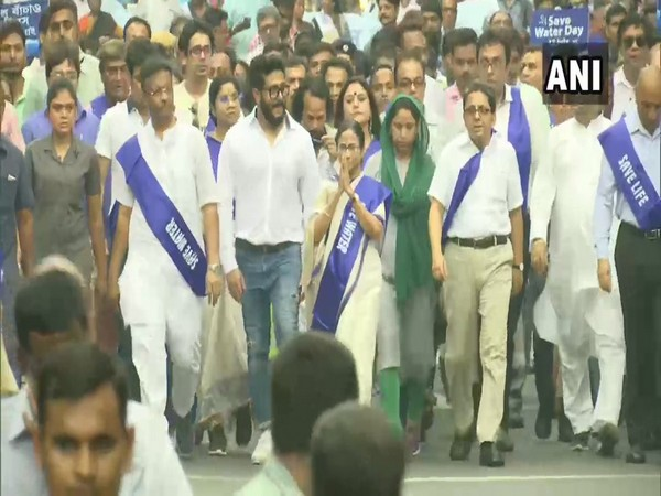 West Bengal Chief Minister Mamata Banerjee leading 'padayatra' in Kolkata on Friday.