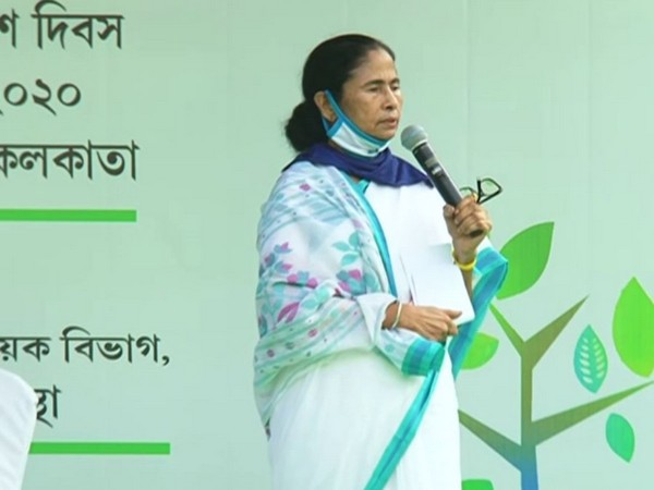 "West Bengal Chief Minister Mamata Banerjee addressing at ""Re-Greening Kol"" programme on the occasion of World Environment Day in Kolkata on Friday. Photo/ANI"