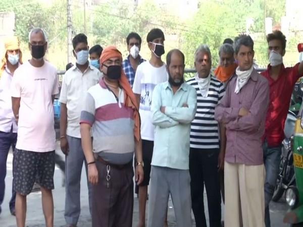 Auto drivers in Mandawali, Delhi on Monday. Photo/ANI