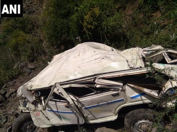 Mangled vehicle at Padhar area of Mandi district on May 2.