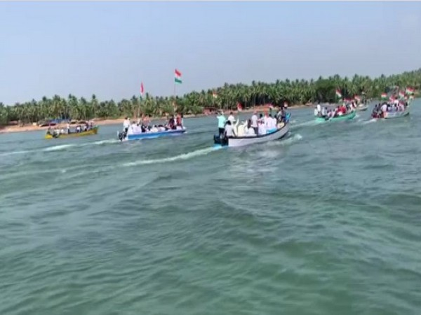 Visuals of protesters on boats in Karnataka.