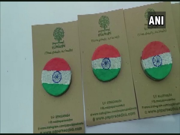 Environment-friendly badges created by Mangaluru based man ahead of Independence day. (Photo/ANI)