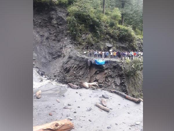 The bridge near Bharngala Nala was washed away following heavy rainfall. Photo/ANI