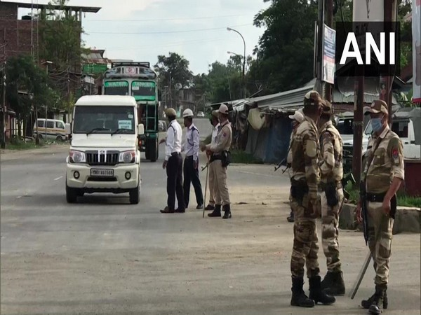 Police deployed at various locations in Manipur's Imphal. (Photo/ANI)