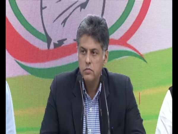 Congress leader Manish Tewari during a press conference in New Delhi on Wednesday. Photo/ANI
