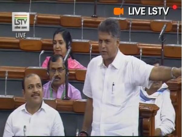 Congress leader Manish Tewari speaking in the Lok Sabha on Friday. (Picture Credits: LS TV)