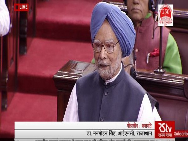 Former Prime Minister Manmohan Singh speaking in the Rajya Sabha on Monday.