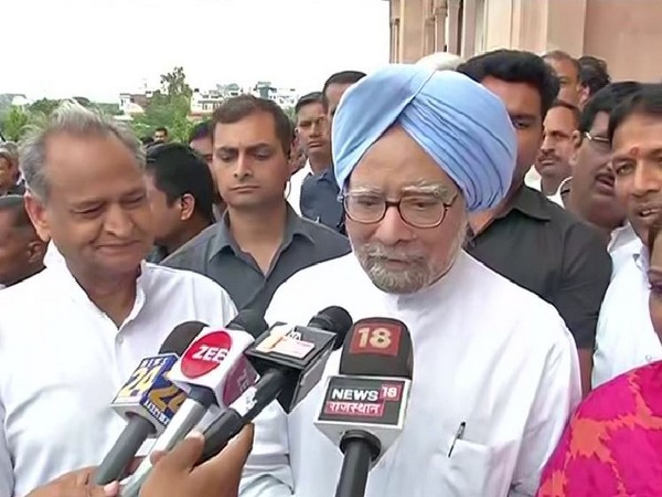 Former Prime Minister Manmohan Singh speaking to reporters in Jaipur on Tuesday. Photo/ANI