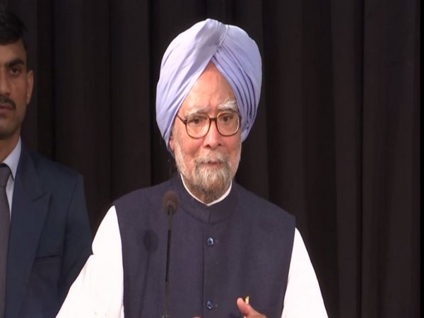 Former Prime Minister Manmohan Singh speaking at an event in New Delhi on Wednesday.