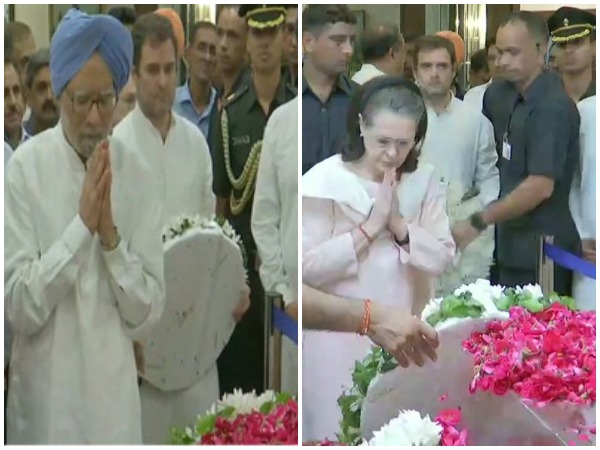 Former Prime Minister Dr Manmohan Singh, Congress interim president Sonia Gandhi and Rahul Gandhi paying tributes to former Finance Minister Arun Jaitley in New Delhi on Saturday. Photo/ANI
