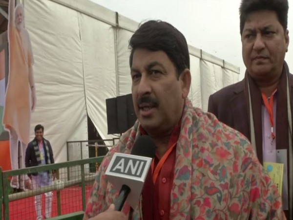 BJP leader Manoj Tiwari speaking to ANI in New Delhi on Sunday. Photo/ANI
