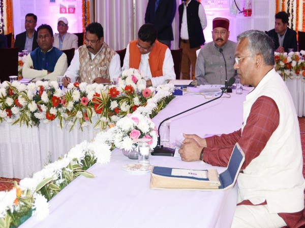 Visual from the meeting presided by CM Trivendra Singh Rawat in Dehradun on Thursday. photo/ANI