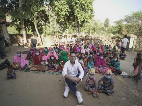 Manu Jagmohan Singh, Secretary General, NRI Institute with the people of tribal belt