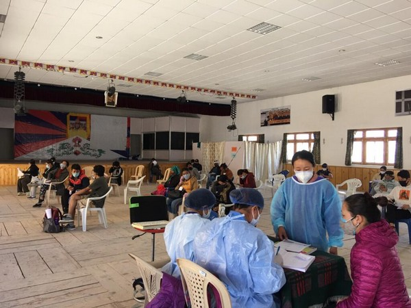 Mass vaccination drive underway in Ladakh and Jangthang organised by Tibetan Primary Health Center Ladakh with the support from Indian UT Government (Photo Credit - Central Tibet Administration)