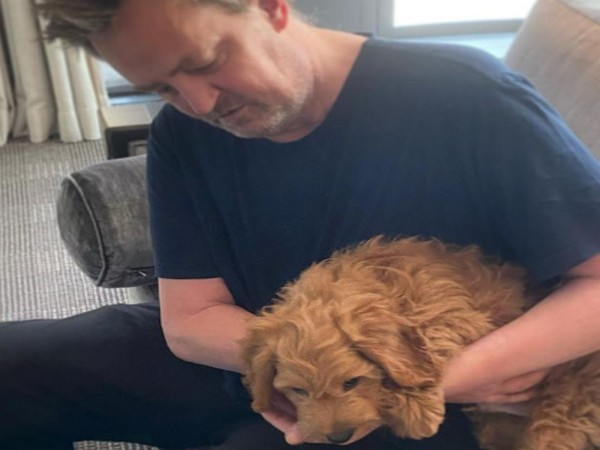 Actor Matthew Perry with his new puppy Alfred (Image Source: Instagram)