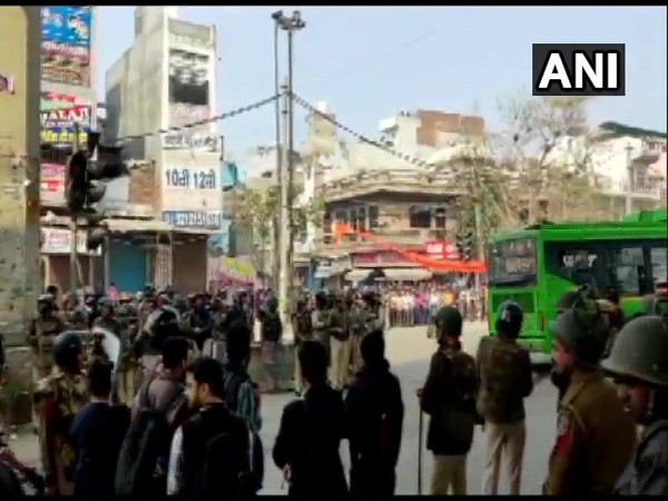 Heavy security deployed in the Maujpur area on Tuesday. Photo/ANI