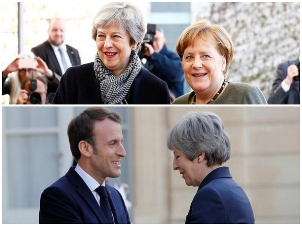 British Prime Minister Theresa May with German Chancellor Angela Merkel and Emmanuel Macron in Berlin and Paris respectively on Tuesday.