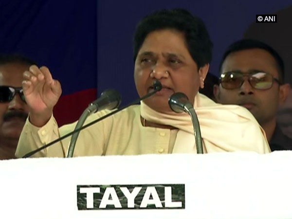 BSP chief Mayawati speaking at an election rally in Rampur on Saturday. Photo/ANI