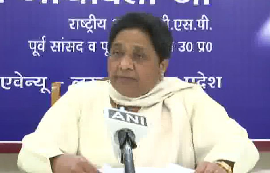BSP supremo Mayawati speaking to media in Lucknow on Thursday