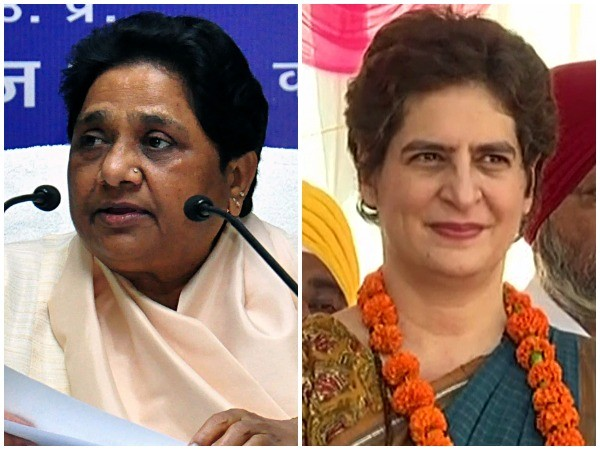BSP chief Mayawati (L), Congress general secretary Priyanka Gandhi Vadra (R)