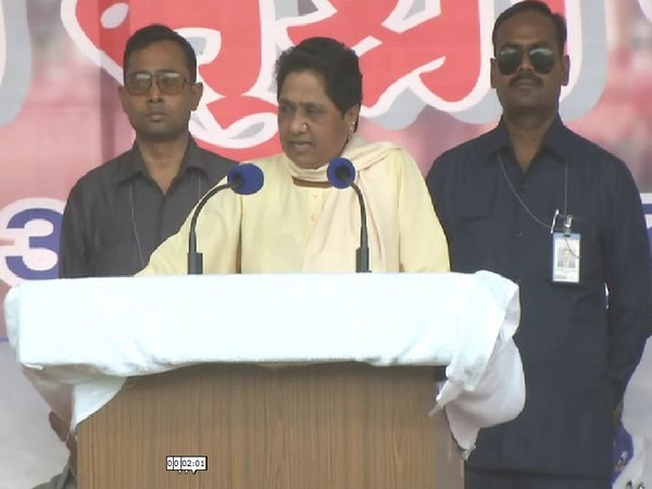 BSP chief Mayawati addressing an election rally in Nagpur, Maharashtra on Friday. Photo/ANI