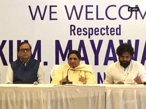 Mayawati's joint press conference with Pawan Kalyan. Photo/ANI