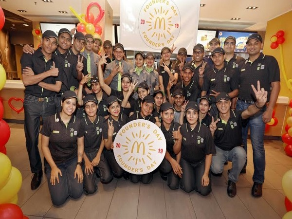 McDonald's employees in new uniform on Founder's Day celebrations in North & East India
